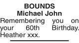 BOUNDS : Birthday memorial