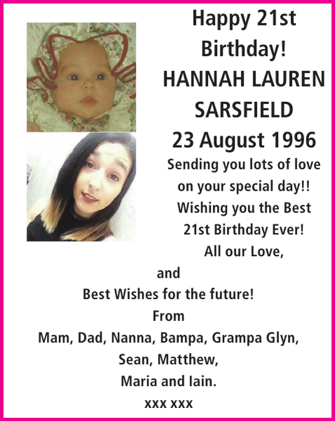 HANNAH LAUREN SARSFIELD : Birthday