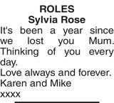 ROLES Sylvia : Memorial