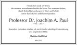Prof. Dr. Joachim A. Paul : Danksagung