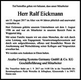 Anzeige für Ralf Eickmann