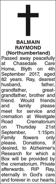 BALMAIN RAYMOND : Obituary