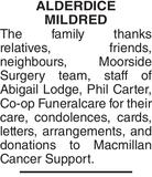 ALDERDICE MILDRED : Acknowledgement