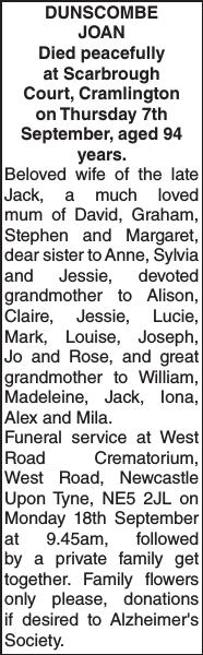 DUNSCOMBE JOAN : Obituary