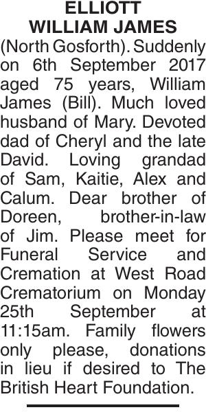 ELLIOTT WILLIAM : Obituary
