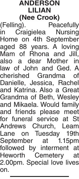 ANDERSON LILIAN : Obituary