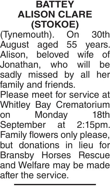 BATTEY ALISON : Obituary