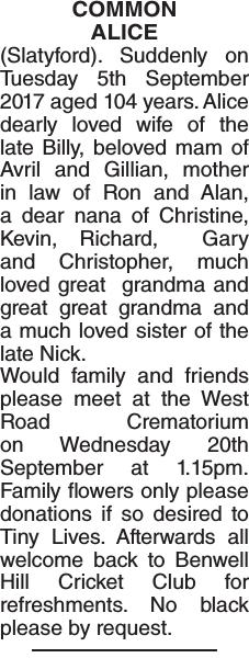 ALICE : Obituary