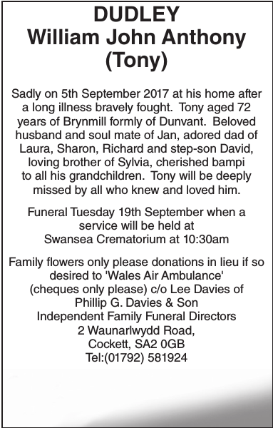 Obituary notice for DUDLEY William