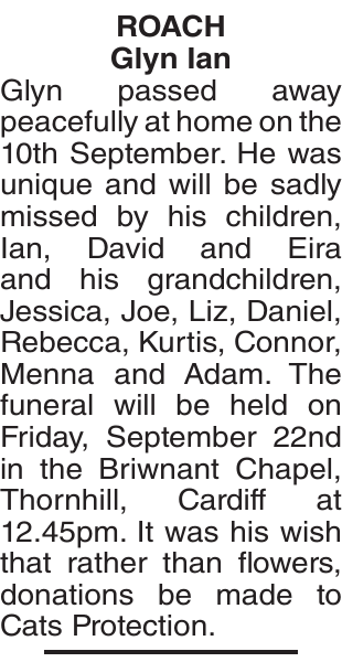 Obituary notice for ROACH Glyn