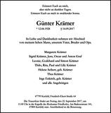 Günter Krämer : Traueranzeige