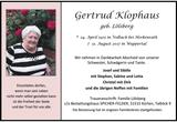 Gertrud Klophaus : Traueranzeige