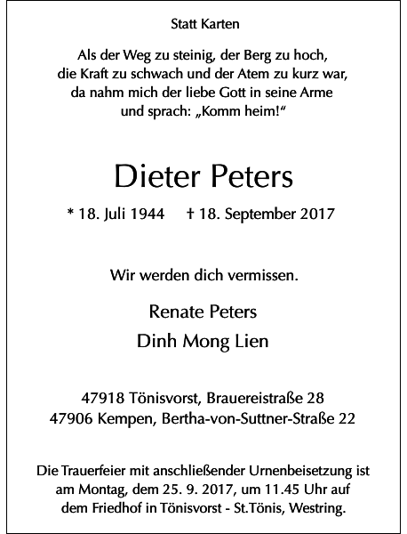 Dieter Peters : Traueranzeige