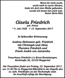 Gisela Friedrich : Traueranzeige