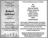 Robert Göldner : Traueranzeige