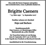 Brigitte Caeners : Traueranzeige