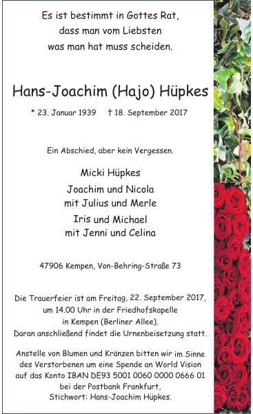 Hans-Joachim Hajo Hüpkes : Traueranzeige