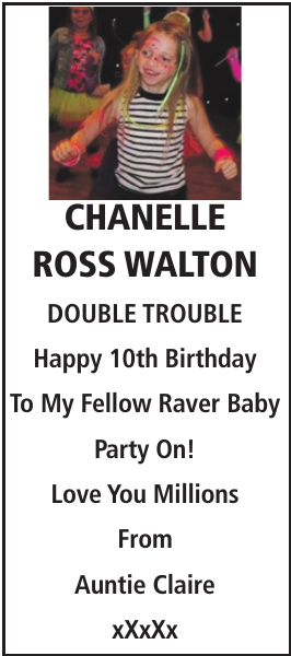 Birthday notice for CHANELLE ROSS