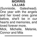 Memorial notice for MORRIS LILLIAS
