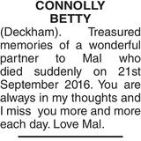CONNOLLY BETTY : Memorial
