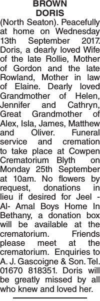 BROWN DORIS : Obituary