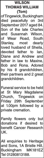 Obituary notice for WILSON THOMAS