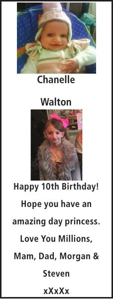 Birthday notice for Chanelle Walton