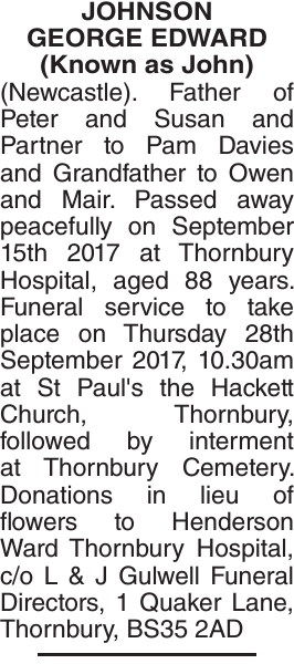 Obituary notice for JOHNSON GEORGE