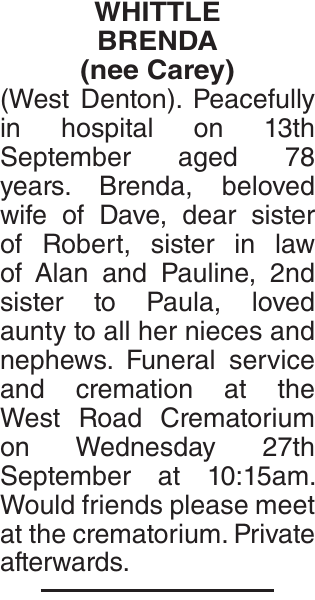 Obituary notice for WHITTLE BRENDA