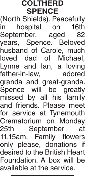 COLTHERD SPENCE : Obituary