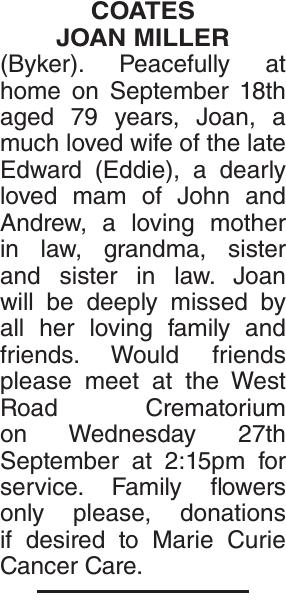 COATES JOAN : Obituary
