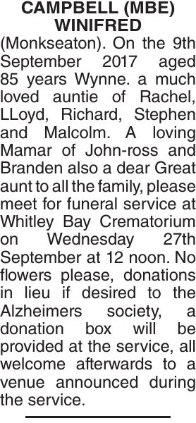 Obituary notice for CAMPBELL MBE