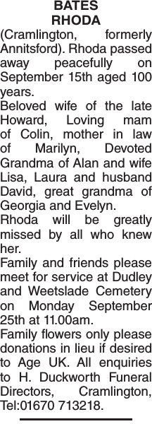 BATES RHODA : Obituary