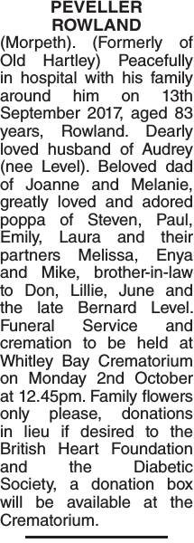 Obituary notice for PEVELLER ROWLAND