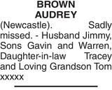Memorial notice for BROWN AUDREY