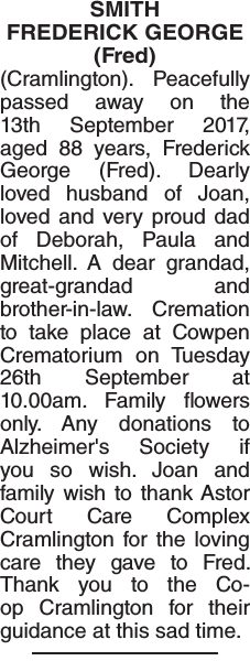 Obituary notice for SMITH FREDERICK