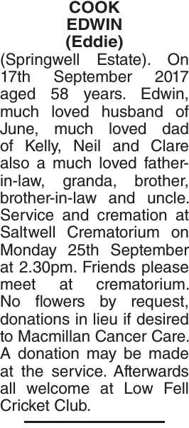 COOK EDWIN : Obituary