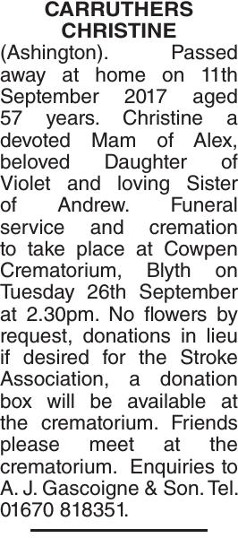 CARRUTHERS CHRISTINE : Obituary