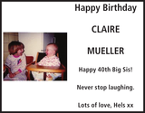 Birthday notice for CLAIRE MUELLER
