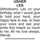 Birthday memorial notice for USHER LES