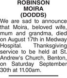 Obituary notice for ROBINSON MOIRA