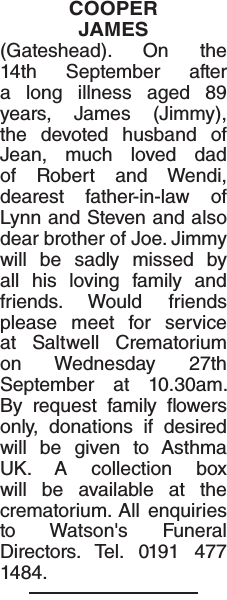 Obituary notice for COOPER JAMES