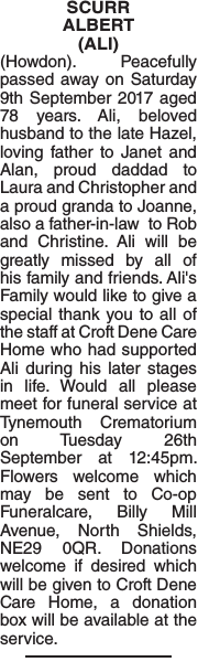 Obituary notice for SCURR ALBERT
