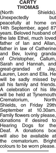 Obituary notice for CARTY THOMAS