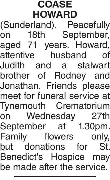 Obituary notice for COASE HOWARD