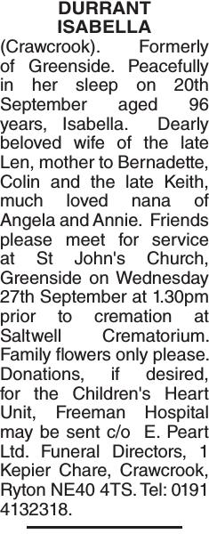 Obituary notice for DURRANT