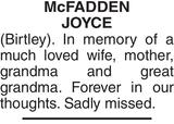 Mc FADDEN JOYCE : Memorial
