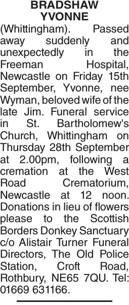 BRADSHAW YVONNE : Obituary