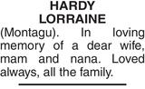 HARDY LORRAINE : Memorial
