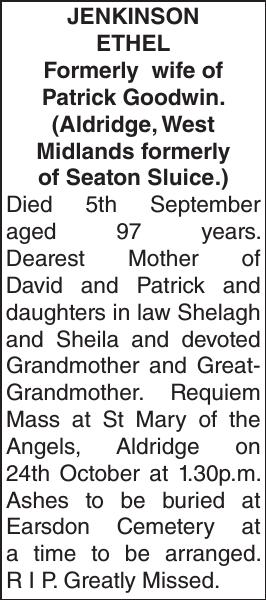 JENKINSON ETHEL : Obituary